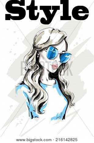 Hand drawn beautiful woman portrait. Fashion lady in sunglasses. Stylish young woman. Cute blond hair girl. Sketch.
