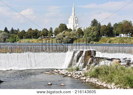 Mormon Temple at Idaho Falls in Idaho, USA