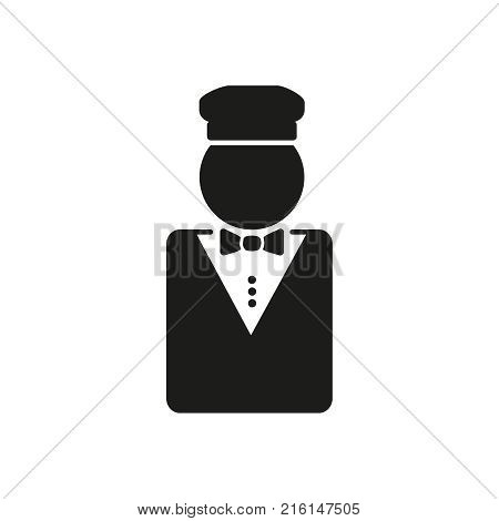 Valet icon. Flat solid pictogram isolated on white background. Concierge symbol, logo illustration. Vector graphics