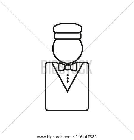 Outline Valet icon. Flat outline style drawing pictogram isolated on white background. Concierge symbol, logo illustration. Vector Icon