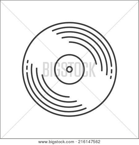 Vinyl record disc icon. Logo for web or app. Outline style. Disco music vinyl isolated on white background. Vector illustration