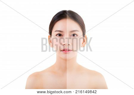 Beautiful Girl With Makeup, Woman And Skin Care Concept / Attractive Asia Girl Smilling On Face Isol