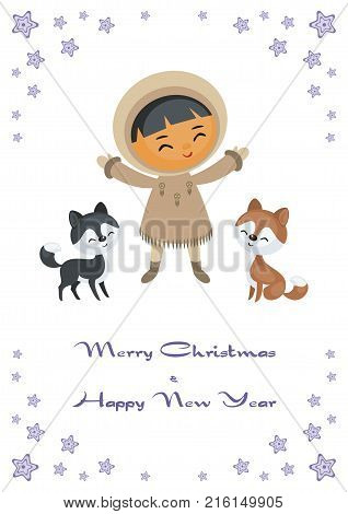 Christmas greeting card with the image of the Eskimo boy. Vector illustration.