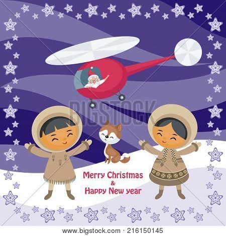 Christmas greeting card with the image of the Eskimo people and Santa Claus. Vector illustration.