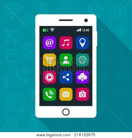 Smartphone with app icons. Touchscreen smartphone with colorful social media application icons. Vector isolated white mobile phone on blue background.
