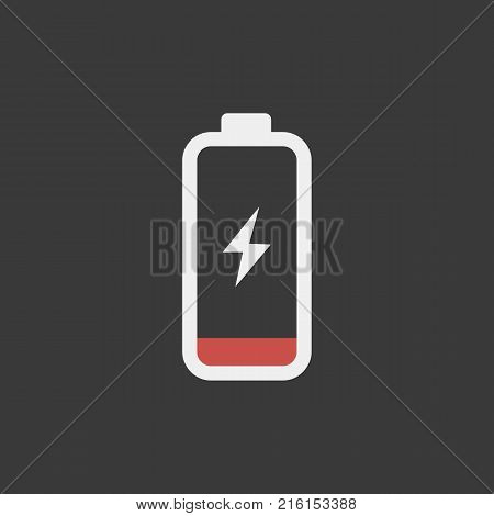 Low battery icon isolated on a black background
