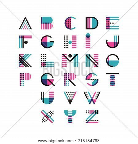 Vector Multicolor Geometric Alphabet. Latin Decorative Font Symbols And Elements For Logo Design.