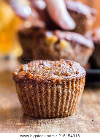 Gluten free (almond and coconut flour) paleo muffins with apples.
