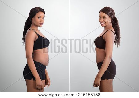 Before And After Concept Showing Fat To Slim African Woman On Grey Background