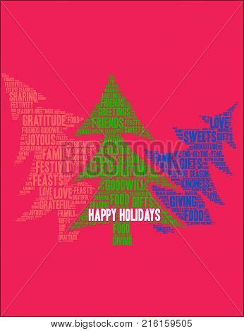 Happy Holidays Word Cloud On A Red Background.