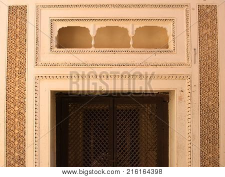 Balcony on historic Paigah tombs in Hyderabad India.