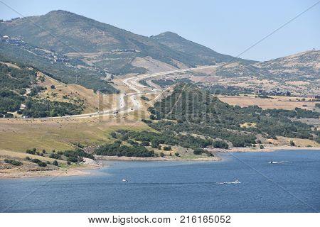 Jordanelle Reservoir in Utah in the USA