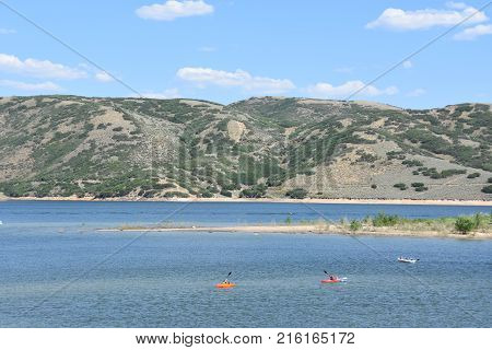 WASATCH, UT - AUG 27: Jordanelle State Park in Wasatch County, Utah, as seen on Aug 27, 2017. It opened on June 29, 1995.