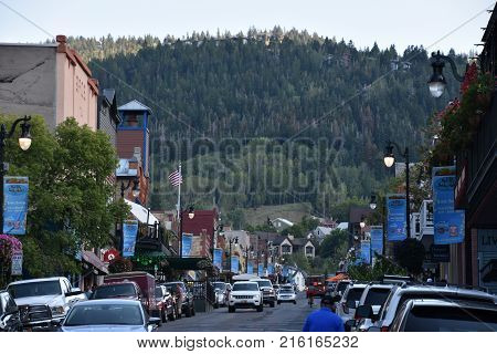 PARK CITY, UTAH - AUG 27: Main Street in Park City, Utah, as seen on Aug 27, 2017. It is a prime shopping district since the 1800's when merchants began catering to the town's founding miners.