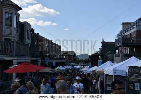 PARK CITY, UTAH - AUG 27: Park Silly Sunday Market in Park City, Utah, as seen on Aug 27, 2017. It is an eco-friendly open air market, street festival & community forum.