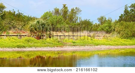 Beautiful sunny day at the Eco Pond of Everglades National Park in Florida