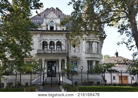 SALT LAKE CITY, UT - AUG 28: The Utah Governor's Mansion in Salt Lake City, Utah, as seen on Aug 28, 2017.