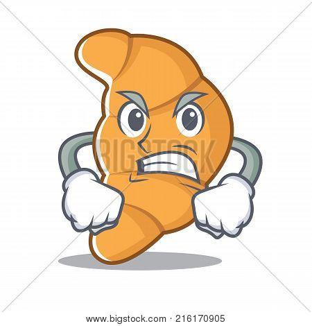 Angry croissant character cartoon style vector illustartion