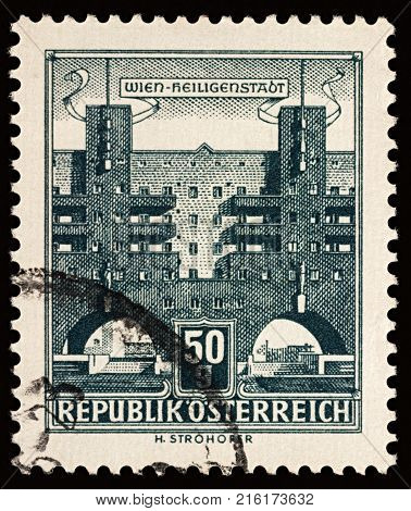 Moscow Russia - November 30 2017: A stamp printed in Austria shows Karl Marx Hof the longest single residential building in the world series