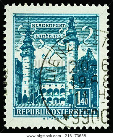 Moscow Russia - November 30 2017: A stamp printed in Austria shows House of Land Parliament in Klagenfurt (built in 1574) series