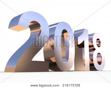 Conceptual 2018 copper year made of shiny brown metal font isolated on white background. A abstract creative rich  holiday 3D illustration, metaphor to future technology, prosperity or business growth