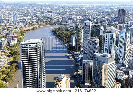 BRISBANE, AUSTRALIA - OCTOBER 18 2016:  Aerial view facing in a southernly direction over Brisbane CBD