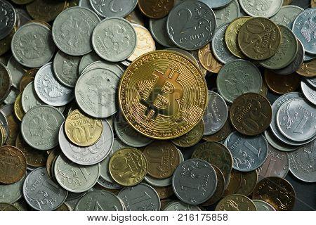 golden bitcoin coin. New virtual money. Bit Coin Btc. Macro