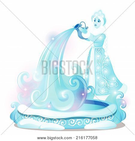 Ice sculpture in the form of a maiden poured the water into the well isolated on white background. Sketch of Christmas festive poster, party invitation, other holiday card. Vector cartoon close-up.