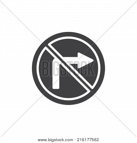 No turn right road icon vector, filled flat sign, solid pictogram isolated on white. Do not turn right traffic sign symbol, logo illustration.