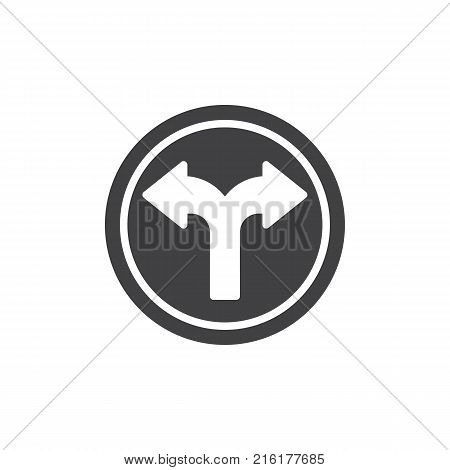 Crossroads splitting in two ways icon vector, filled flat sign, solid pictogram isolated on white. Fork junction traffic symbol, logo illustration.