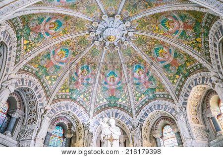 Lyon France - December 9 2016: The altar ceiling of the crypt of the Notre Dame de Fourviere basilica