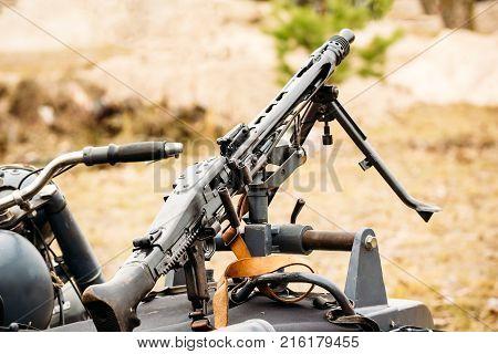 MG-42 machine gun mounted on a motorcycle