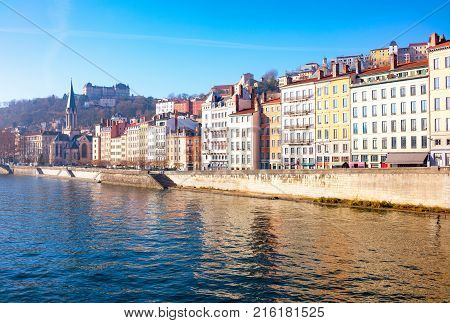 France Lyon the architectures of the old town seen from the Saone river