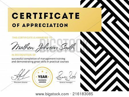 Certificate Of Appreciation Template Design. Elegant Business Diploma Layout For Training Graduation