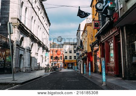 Cork, Ireland - November 12, 2017: Oliver Plunkett street in Cork. It is typical shopping street in the center of Cork