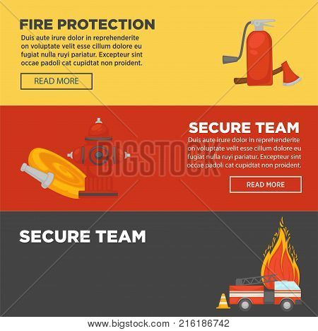 Fire protection and firefighter team of fire secure protection web banners flat design template. Vector set of fire extinguisher, water hydrant hose and engine car or siren and fire extinguishing equipment tools