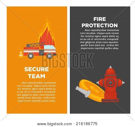 Fire protection or firefighting secure team posters of fire extinguishing equipment tools. Vector flat design of firefighter extinguisher, water hydrant hose and engine car for security information
