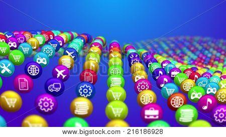 Flying Social Media News Balls
