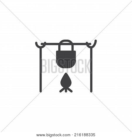 Pot on the fire in camping icon vector, filled flat sign, solid pictogram isolated on white. Camp pot symbol, logo illustration