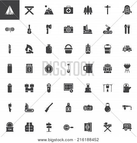 Hiking and Camping universal vector icons set, modern solid symbol collection, filled style pictogram pack. Signs, logo illustration. Set includes icons as tent, camp chair, campfire, sleeping bag