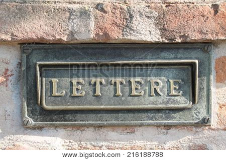 Old letterbox at facade. Background for web site or mobile devices poster