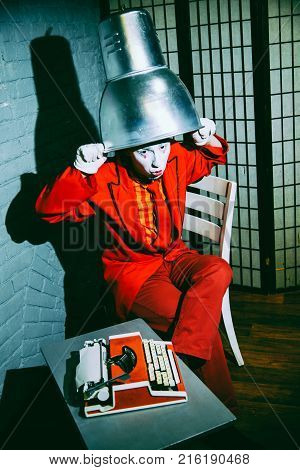 Mime Put A Metal Lampshade On His Head, Makes Faces And Poses