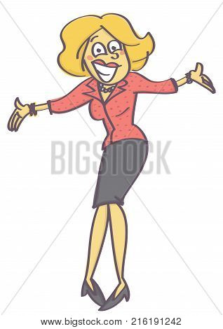 Woman in welcoming or offering pose with insincere and forced smile on her face, isolated vector cartoon with white background
