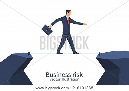 Business risk rope. Businessman walking on tightrope gap in rocks. Way to success. Obstacle on road. Vector flat design. Isolated on white background. Success in business concept.