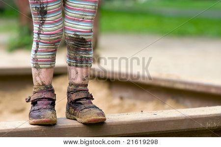 Child's Muddy Feet