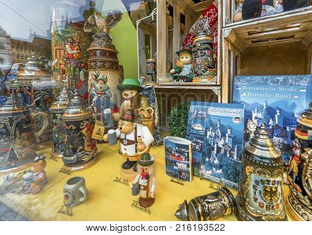 Rottenburg-ob-der-Tauber, Germany - October 2017: in the street show window of the town