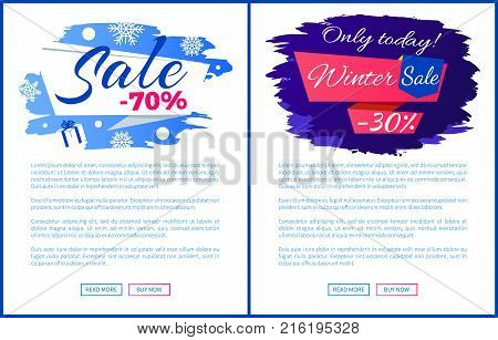 Only today winter sale - 30 off promo poster on blue brush strokes vector illustration final banner with snowflakes. Advertisement xmas label design