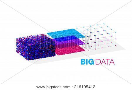 Big data illustration with structuring map reduce process showing clusters of data sequencing in organized order for analysis