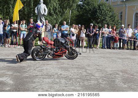 Verkhovazhye, Vologda region, Russia - August 10, 2013: The Taming of the iron horse Alexei Kalinin