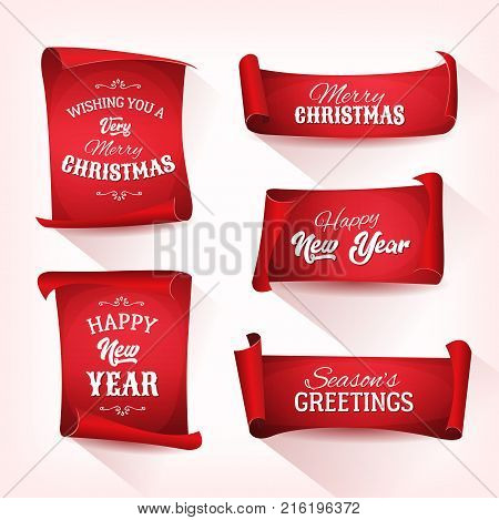 Illustration of a set of christmas and happy new year banner on red parchment scroll for winter holidays